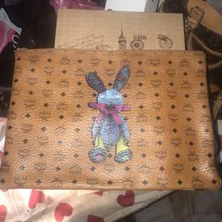 Authentic MCM Rabbit Large Pouch In Cognac