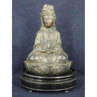 銅制觀音像 連原件木彫座