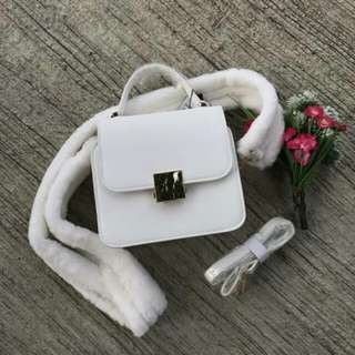 ZARA Mini City Bag with Faux Fur Strap