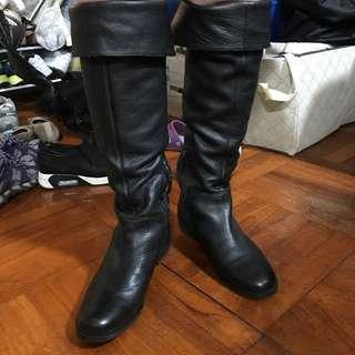 黑色真皮長靴 Boots 過膝長靴 兩著