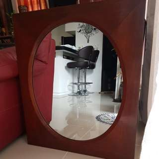 Narra Wood Framed Circular Mirror
