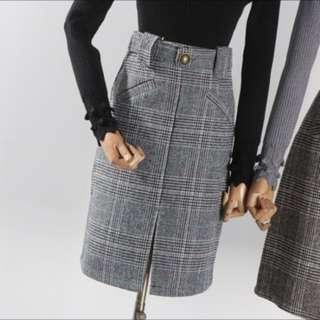 Grey Checked Skirt