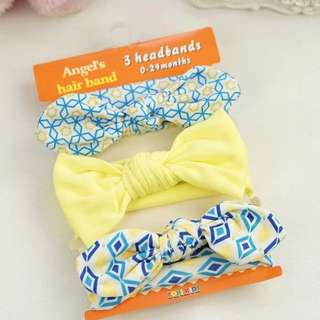 🐰Instock - 3pc yellow headband, baby infant toddler girl children glad cute 12345