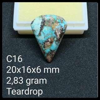 Batu Pirus Persia C16 Natural Pyrus Turquoise Akik Teardrop