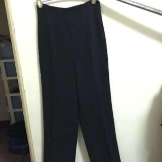 高腰寬版長褲(黑色)