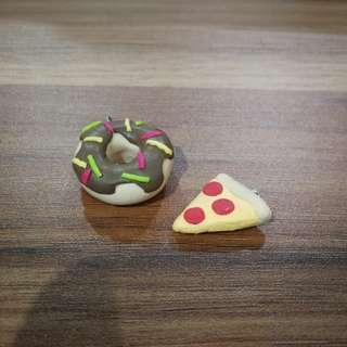 Pizza and donut keychain or necklace  charm