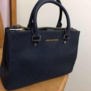 Michael Kors navy blue leather bag 名牌真皮手袋