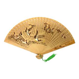 Pre-Owned - Hand Fan - Wood - Carved and Drawings
