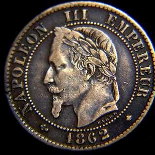1862年法蘭西帝國(French Empire)皇家大鷹國徽2仙銅幣(法皇拿破侖三世像,好品)