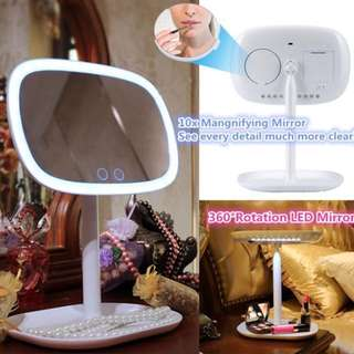 Adjustable 360 Degree Rotation LED Make Up Mirror with lighted table lamp (Touch Screen)