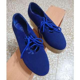 🚚 寶藍色編織鞋底綁帶厚底鞋39號