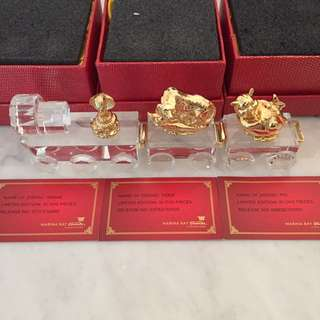 Limited Edition MBS 24k Gold Plated Zodiac Animals on Crystal Base Marina Bay Sands