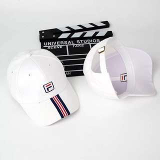 "INSTOCKS White ""Stripes Fila"" Baseball Cap"