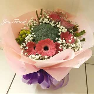 BROCCOLI & flower bouquet
