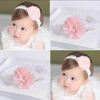 Newborn Baby Lace Rose White Chiffon Hairband
