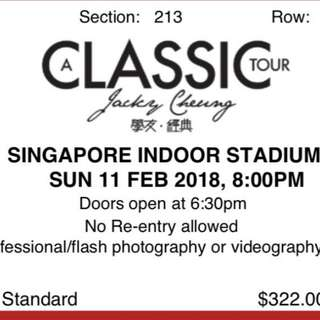 Jacky Cheung Tickets (Cat 2)