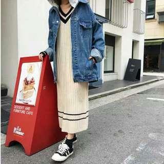 🚚 學院風V領顯瘦條紋長袖針織毛衣連身裙洋裝