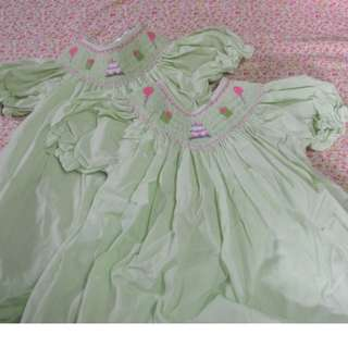 Green birthday dress with Hand-Embroidered Birthday Themed Accents