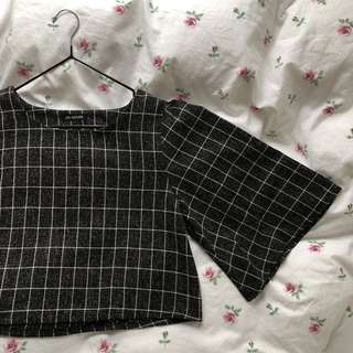 Black and White Grid Check Batwing Cropped Top Worn Once