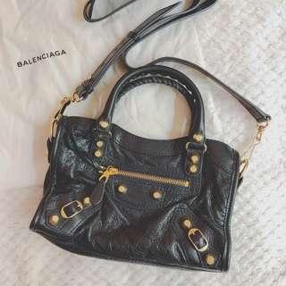 BALENCIAGA Mini City Handbag- Charcoal black