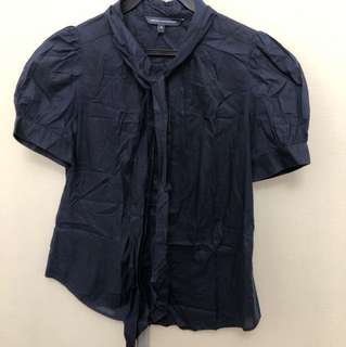 French connection dark blue button down top with ribbon tie