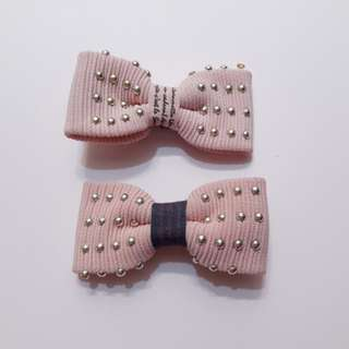 DOUBLE PINK BOW (Jepit pita)