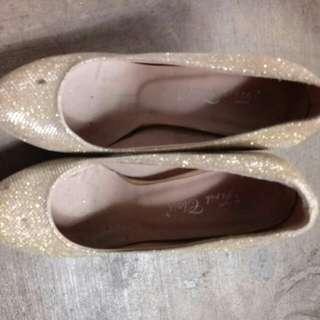 Gold glittering shoe 3inch