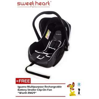 Sweet Heart Paris CS322 Car Seat cum Carriage (Dark Grey) Free ACC FAN
