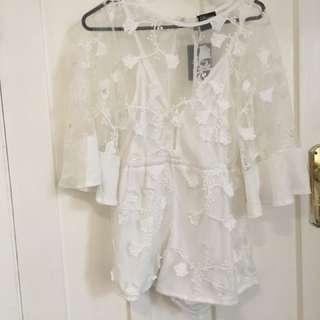 pop berry gorgeous white lace jumpsuit, BNWT