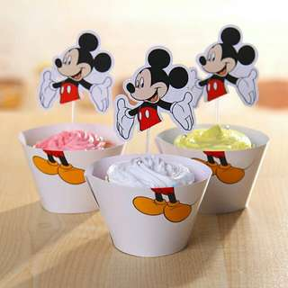 Mickey Mouse Cupcake Wrappers Toppers