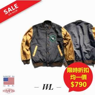 🚚 <二手正品>美國【WL sport】Varsity Jacket 復古學院風刺繡徽章棒球外套 M號 拼接色