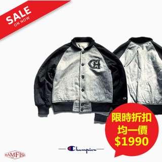 🚚 <二手正品>美國【Champion】Varsity Jacket 復古學院風頂級羊毛刺繡LOGO棒球外套 M號 灰黑色