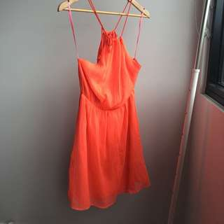 Neon Orange High Neck Dress