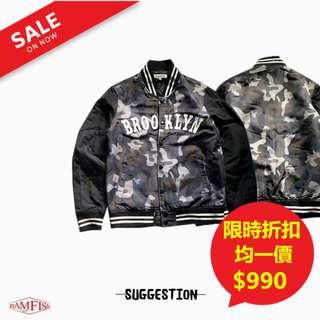 🚚 <二手正品>美國【Suggestion】Varsity Jacket 美式刺繡字母棒球外套 M號 迷彩色