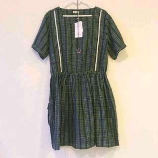 🚚 全新🌈日系純棉綠格洋裝