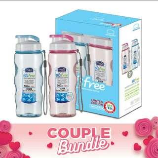 Lock&lock bisfree sport water bottle 2P SET pink + blue with gift box