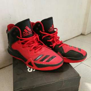 Red/Black Adidas Bounce Mid cut Basketball Shoes