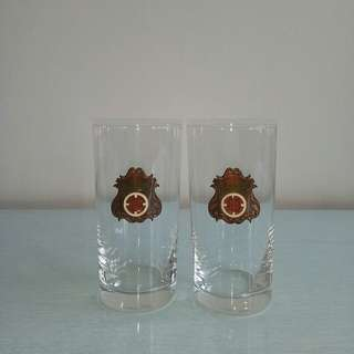 Vintage Beer Glass Cup height 13.5cm and metal logo unused mint 2pcs $10