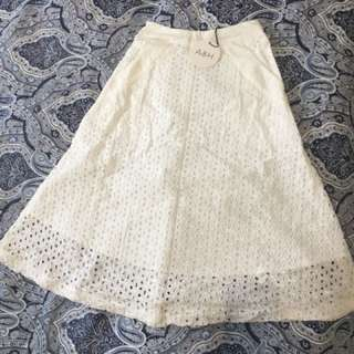 Atmos&Here white broderie lace skirt