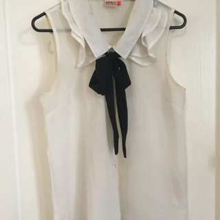 ONLY white bow neck blouse