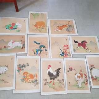 12 zodiac 十二生肖图画