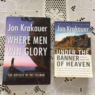 2 Jon Krakauer books: Where Men Win Glory & Under the Banner of Heaven