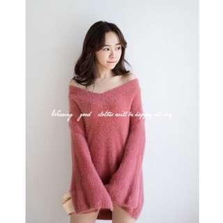 櫻花粉毛絨上衣