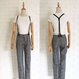 Plaid Trouser with removable suspender