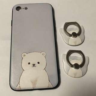*包郵*全新白熊Iphone8 Case 連2個手指環
