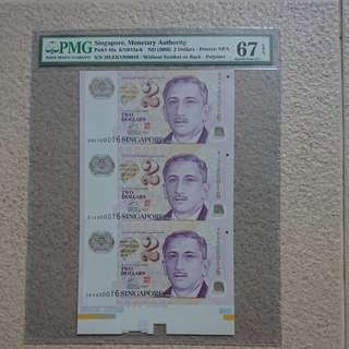 High Graded 67 3 in 1 Uncut Note