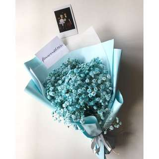 Blue coloured baby's breath bouquet in blue wrapping paper + One instax photo
