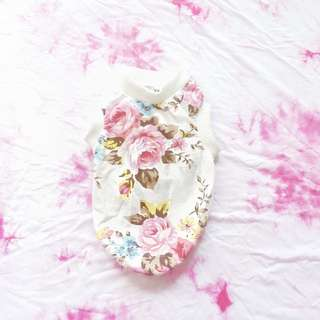 White Sleeveless With Pink Floral