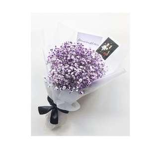 Purple Baby's Breath Bouquet real flowers hand bouquet