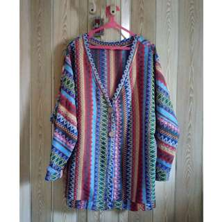 Colorful Tribal Style Cardigan Sheinside